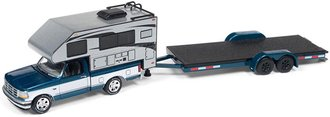 1:64 1993 Ford F-150 w/Truck Camper (Blue/White/Silver) & Car Trailer (Blue/Black)