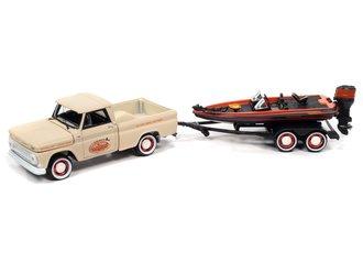 1:64 1965 Chevy Stepside Pickup w/Bass Boat & Trailer (Pale Beige, Orange & Black)
