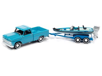 1:64 1965 Chevy Stepside Pickup w/Bass Boat & Trailer (Lt Turquoise, Blues & White)