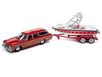 1:64 1973 Chevy Caprice Wagon w/Mastercraft Boat & Trailer (Red Wood, White & Red)