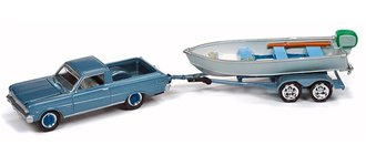 1:64 1965 Ford Ranchero w/Vintage Fishing Boat (Silver Blue)