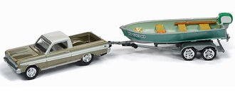 1:64 1965 Ford Ranchero w/Vintage Fishing Boat (Dirty) (Honey Gold/White)