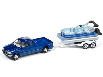 1:64 2004 Ford F-250 Truck w/Pontoon Boat (Sonic Blue)