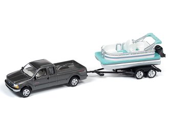 1:64 2004 Ford F-250 Truck w/Pontoon Boat (Dark Shadow Gray)