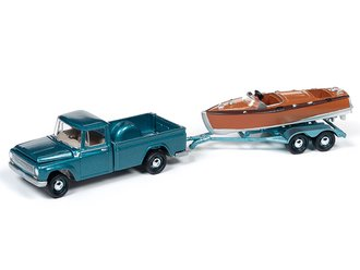 1965 International 1200 Truck w/Split-Cockpit Wood Boat (Medium Turquoise)