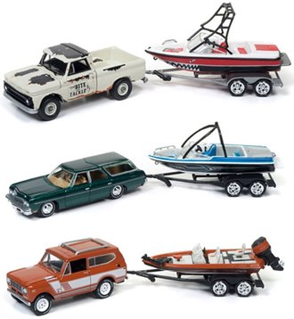 Johnny Lightning 1:64 Boat & Trailer Series, Release 4B (Set of 3)