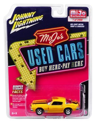 "1:64 1977 Chevy Camaro ""MiJo's Used Cars"" (Weathered Yellow w/Black Racing Stripes)"