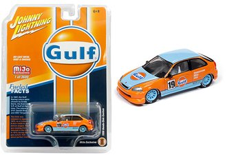 "1:64 Johnny Lightning 50th Anniversary 1998 Honda Civic ""Gulf #19"" (Orange/Blue)"