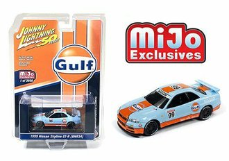 "1:64 Johnny Lightning 50th Anniversary Nissan GT-R R34 (BNR34) ""Gulf Racing #99"" (Orange/Blue)"