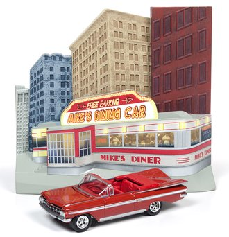 1:64 50's Diner Façade w/1959 Chevy Impala Convertible