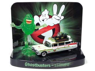1:64 Ghostbusters™ II Façade Diorama w/Ecto-1A 1959 Cadillac & Slimer Figure