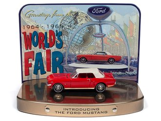 1:64 1964 Ford Mustang (Rangoon Red) w/1964 World's Fair Tin Display