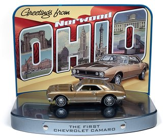1:64 1967 Chevy Camaro (Gold) w/Greetings from Norwood, Ohio - The Birth Place of the Camaro Display