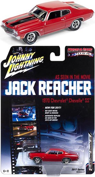 1:64 Jack Reacher 1970 Chevrolet Chevelle SS (Cranberry Red w/Black Stripes)