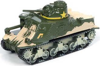 1:100 WWII M3 Lee Tank (Dirty) (Olive Drab/Gold Stars/Banners)