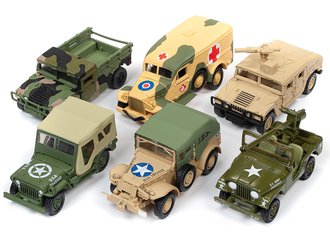 1:64 Johnny Lightning Military 'Wheeled Warriors' 2019 Release 2A (Set of 6)