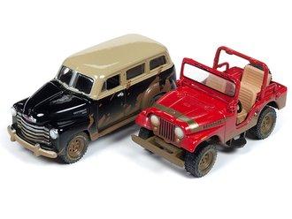 1:64 Jeep CJ-5 (Dirty Red Renegade) & 1950 Chevy Suburban (Dirty Black)