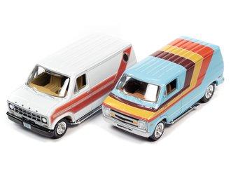 1:64 1976 Dodge Street Van (Light Blue w/Stripes) & 1977 Ford Cruisin Van (White w/Stripes)