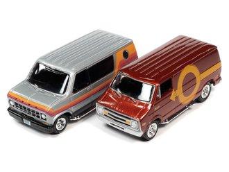 1:64 1976 Dodge Street Van (Brown w/Yellow Graphics) & 1977 Ford Cruisin Van (Silver w/Graphics)