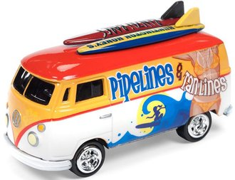 1:64 1964 Volkswagon Transporter (Surf Rods) (White/Orange w/Graphics)