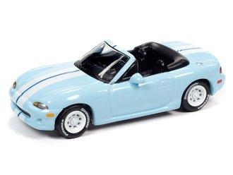 """1999 Mazda Miata """"Import Heat"""" (Light Blue, White Stripes)"""
