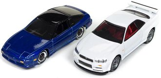 1:64 1990 Nissan 240SX (Cobalt Blue Metallic/Gloss Black) & 1999 Nissan Skyline GT-R (R34) (White)