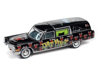 """1:64 1966 Cadillac Hearse """"Rat Fink"""" (Black/Green/Red)"""
