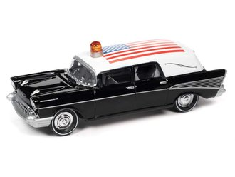 1:64 1957 Chevrolet Hearse (Black/White w/American Flag)