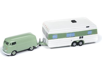 1:64 1965 Volkswagen Transporter w/Vintage Mobile Home (Birch Green)