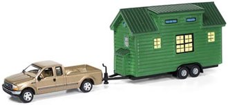 1:64 2004 Ford F-250 (Gold Metallic /Black Rims) w/Green Stained Cedar Siding Tiny House