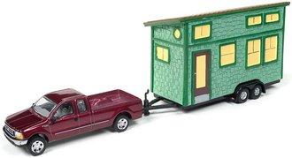 1:64 2004 Ford F-250 (Dark Red Metallic) w/Tiny House (Juniper Shake Siding)