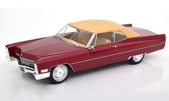 1:18 1968 Cadillac DeVille Closed Convertible (Dark Red Metallic/Beige)