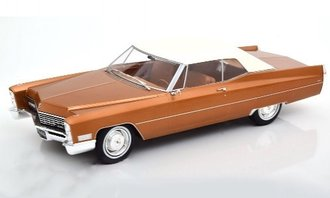 1:18 1968 Cadillac DeVille Closed Convertible (Light Brown Metallic/White)