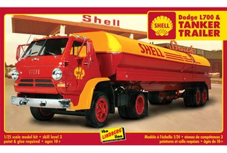 "1:25 1969 Dodge L-700 Tilt Cab w/Tanker Trailer ""Shell"" (Model Kit) *** Box Damage ***"