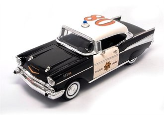 1:18 1957 Chevrolet Bel Air Police (Black/White)