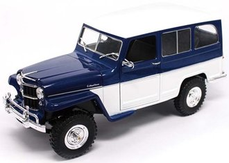 1:18 Willys Jeep Station Wagon (Blue/White)