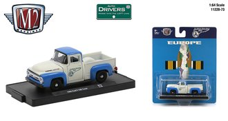 """1:64 1956 Ford F-100 Pickup Truck """"Pan Am"""" (White/Blue)"""