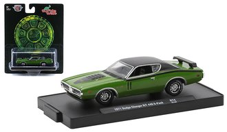 """1:64 1971 Dodge Charger R/T 440 6-Pack """"Turtle Wax"""" (Green)"""