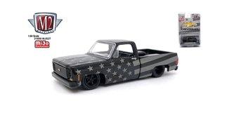 """1:64 1973 Chevrolet Custom Deluxe 10 Squarebody Pickup """"Stars & Stripes"""" (Black)"""