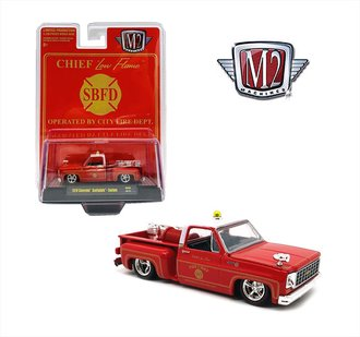 1:64 1979 Chevrolet Scottsdale Custom Fire Pickup (Red/White)