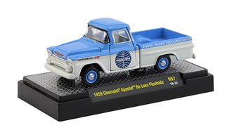 """1959 Chevrolet Apache De Luxe Fleetside Pickup Truck """"Pan Am"""" (Blue/Bombay Ivory)"""