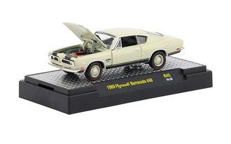 1:64 1969 Plymouth Barracuda 440 (Sand Pebble Beige w/Semi-Gloss Black Stripes)
