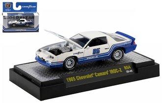 "1:64 1985 Chevrolet Camaro IROC-Z ""Goodyear"" (White/Blue)"