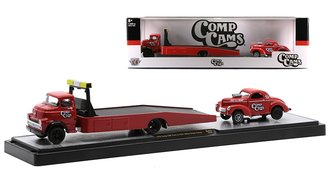 """1:64 1958 Dodge COE Ramp Truck & 1941 Willys Coupe Gasser """"Comp Cams"""" (Red)"""