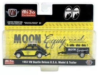 """1:64 Volkswagen Beetle Deluxe U.S.A. Model w/Trailer """"Mooneyes Moon Equipped"""""""