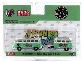 """1:64 Auto Machine VW Volkswagen Microbus Deluxe U.S.A. w/Trailer """"Maui & Son"""""""