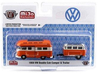 1:64 Auto Machine VW Volkswagen Double Cab Camper w/Trailer (Orange/White)