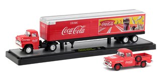 1:64 Coca-Cola 1958 Chevrolet Spartan LCF w/1958 Chevrolet Apache Stepside (Red)