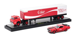1:64 Coca-Cola 1970 Ford C-600 w/1970 Ford Mustang BOSS 302 (Red)