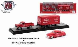 Coca-Cola 1:64 1969 Ford F-250 Ranger Truck w/1949 Mercury Custom